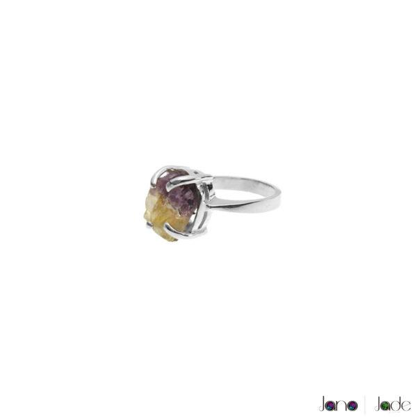 anillo solitario con gema natural en plata 925